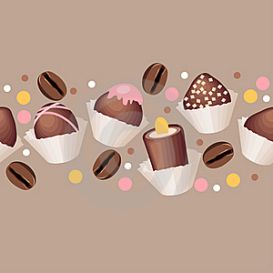 Seamless Pattern With Chocolate Sweets Royalty Free Stock Image - Image: 17413666