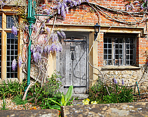 Wooden Door To An English Village Cottage Stock Photography - Image: 17415902
