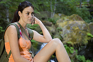 Young Woman Hiking In Summer Royalty Free Stock Photo - Image: 17416745
