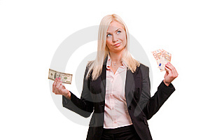 Woman Holding Euro In One Hand And Dollars In Ano Stock Photos - Image: 17417583