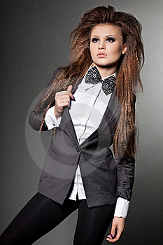 Woman With Bow-tie Stock Image - Image: 17419921