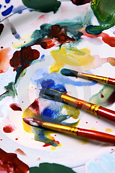 Watercolors, Brushes And Palette Royalty Free Stock Photography - Image: 17423977