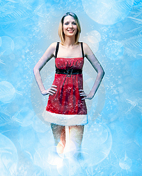 Girl In Santa Claus Clothes On Snow Pattern Royalty Free Stock Images - Image: 17424849