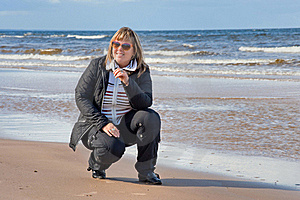 Woman Relaxing At The Sea. Royalty Free Stock Photo - Image: 17425085