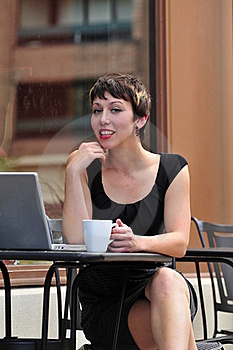 Woman Sitting In A Cafe Stock Images - Image: 17428674