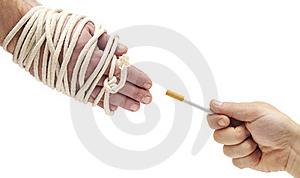 Hands Were Tied With A Rope Royalty Free Stock Photo - Image: 17430585