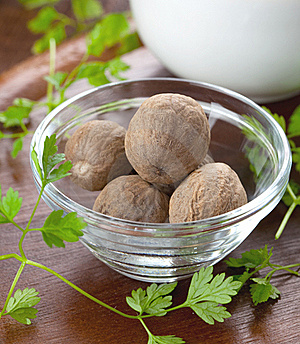 Nutmegs In A Bowl Stock Photo - Image: 17431510