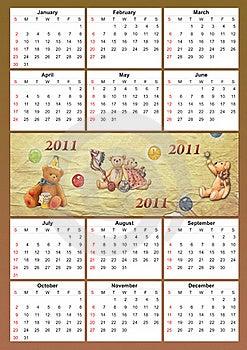 2011 Childish Calendar Stock Images - Image: 17432854