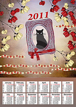 2011 Calendar With A Black Cat Royalty Free Stock Photography - Image: 17432877