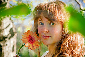 Pretty Woman And Flower In Spring Royalty Free Stock Photo - Image: 17436355