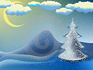 Christmas-tree In A Moon Night. EPS 8 Royalty Free Stock Photo - Image: 17438835