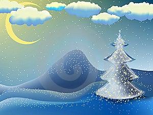 Kerstmis-boom In Een Maannacht. EPS 8 Royalty-vrije Stock Foto - Beeld: 17438835
