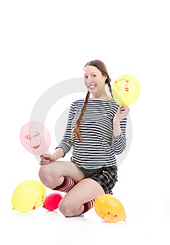 Girl With Baloons Royalty Free Stock Image - Image: 17448286