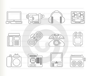 Electronics, Media And Technical Equipment Icons Royalty Free Stock Photos - Image: 17448608