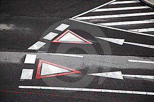 Yield Sign Marked At The Street In Vienna Stock Images - Image: 17449784