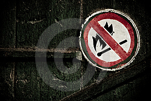 No Fire Sign On The Wall Stock Photo - Image: 17451400