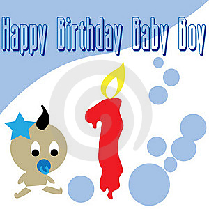 Baby Boy First Birthday Wallpaper Stock Photos - Image: 17451463
