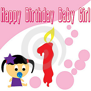 Baby Girl First Birthday Wallpaper Royalty Free Stock Photo - Image: 17451465