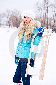 Girl With A Sled Stock Photo - Image: 17452030