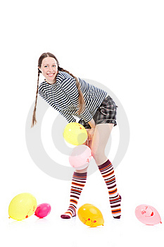 Girl With Baloons Stock Images - Image: 17453214