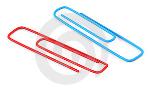 Red And Blue Paper Clips Royalty Free Stock Image - Image: 17453986