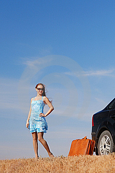 Girl Near The Car Stock Image - Image: 17454031