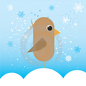 Little Bird In Cold Illustration Royalty Free Stock Images - Image: 17454079