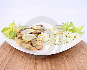 Fried Fish With Side Salad Stock Images - Image: 17454824
