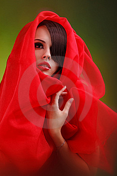 Beautiful Face Sweet Lips Folds Of Red Cloth Royalty Free Stock Photography - Image: 17455337