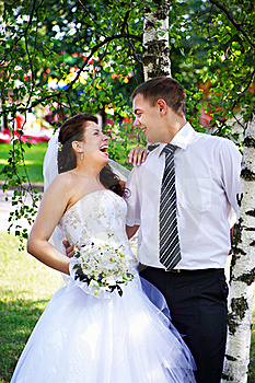 Joyful Bride And Groom Near Birches Stock Image - Image: 17459671