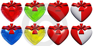 High Resolution 3D Heart With A Ribbon Isolated Stock Photos - Image: 17460143
