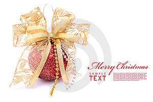 Red Christmas Balls And Gold Bow Ribbon Stock Image - Image: 17461931
