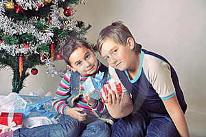 Kids And Christmas Present Stock Photos - Image: 17463893