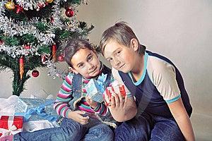 Kids And Christmas Present Stock Photos - Image: 17463893