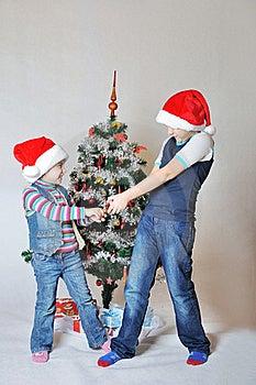 Kids Fight On Christmas Stock Photo - Image: 17463900