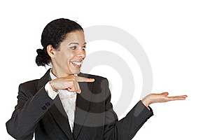 Woman Points With Finger At Palm With Ad Space Stock Image - Image: 17464021
