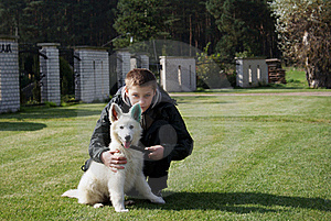 Boy With His Lovely Puppy Stock Images - Image: 17464954