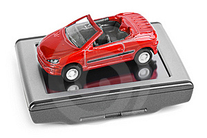 GPS Navigator And Toy Car Royalty Free Stock Image - Image: 17466556