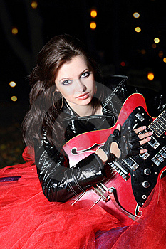 Guitar Player Girl In The Night Royalty Free Stock Image - Image: 17466766