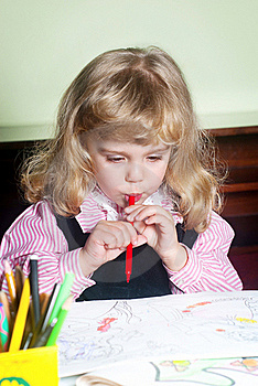 Cute Little Girl Painting Stock Photography - Image: 17467032