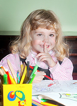 Cute Little Girl Painting Stock Photo - Image: 17467050