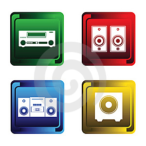 Four Musical Buttons Stock Images - Image: 17469434