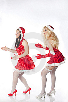 Two Sexy Santa Girls Having Fun Royalty Free Stock Images - Image: 17469879
