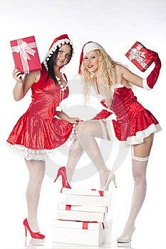 Two Sexy Santa Girls Having Fun Stock Photo - Image: 17469880