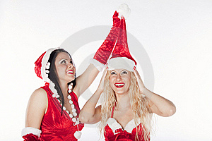 Two Sexy Santa Girls Having Fun Royalty Free Stock Photography - Image: 17469887