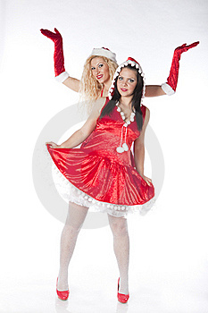 Two Sexy Santa Girls Having Fun Stock Images - Image: 17469894