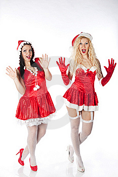 Two Sexy Santa Girls Having Fun Royalty Free Stock Image - Image: 17469896