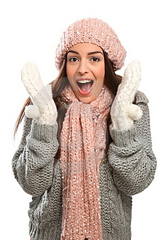 Suprised Happy Laugh Young Woman In Cold Weather Royalty Free Stock Photo - Image: 17470765