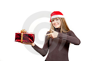 The Cute Laughing Girl Holding The Red Box Present Stock Image - Image: 17471981