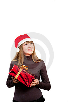 Cute Laughing Girl Holding The Red Box Present Stock Images - Image: 17472004